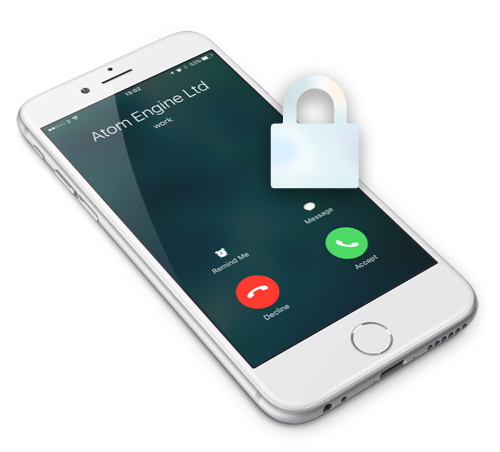 iPhone with Atom Engine caller ID with padlock