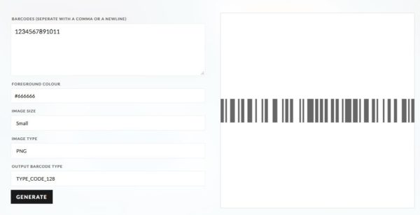 Barcode generator in action